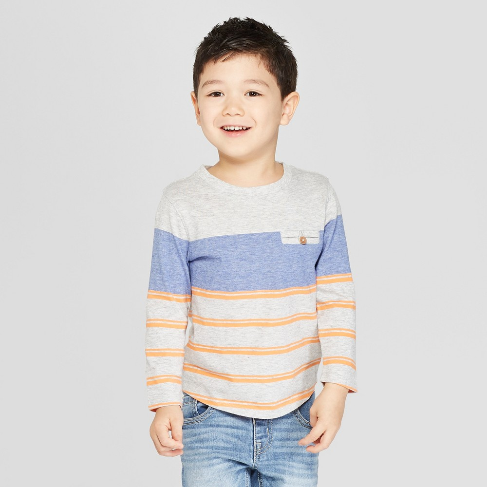 Toddler Boys' Long Sleeve Welt Pocket T-Shirt - Cat & Jack Gray 12M