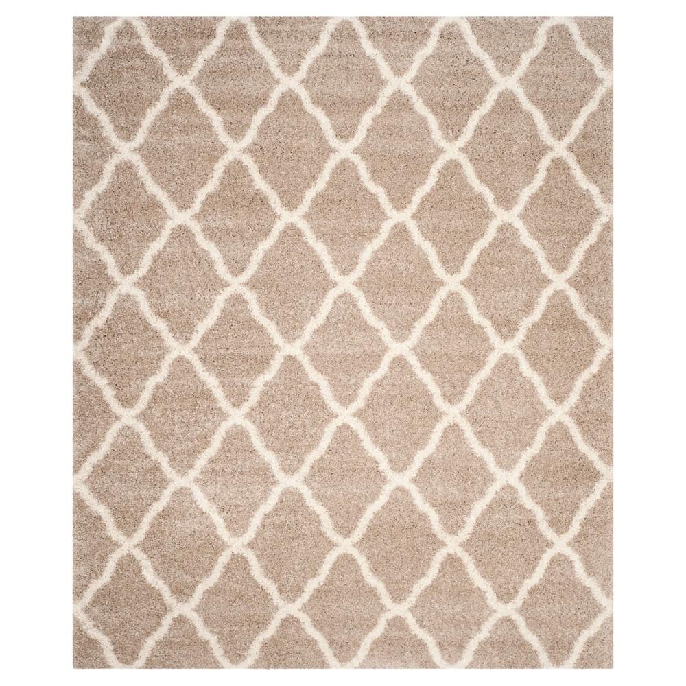 Beige/Ivory Geometric Shag/Flokati Loomed Area Rug - (8'X10') - Safavieh