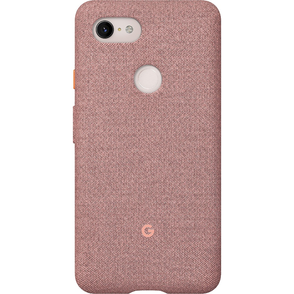 Google Pixel 3 XL Case - Pink Moon Looks good on you. Designed for Pixel 3, these fabric cases are compatible with Qi wireless charging and come in colors to match your lifestyle. Active Edge lets you access the Google Assistant with just a squeeze. Length: 6.4 in (162.86mm) Width: 3.2 in (81.55mm) Height: 0.43 in (10.99mm) Weight: 1.65oz (47g) Materials: PC and Tpe Finish: Matte Color: Pink Moon. Pattern: Solid.