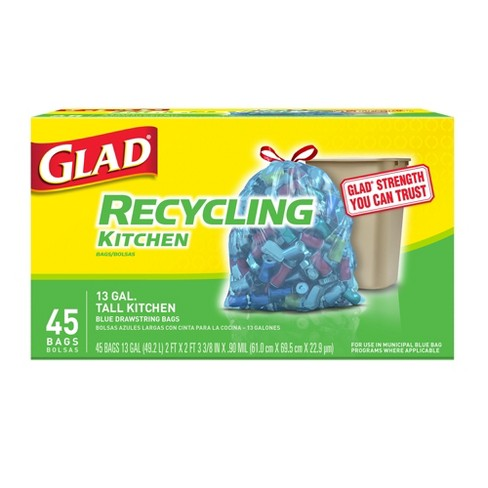 Glad Blue Recycling Tall Kitchen Drawstring Trash Bags - 13 Gallon - 45ct - image 1 of 4