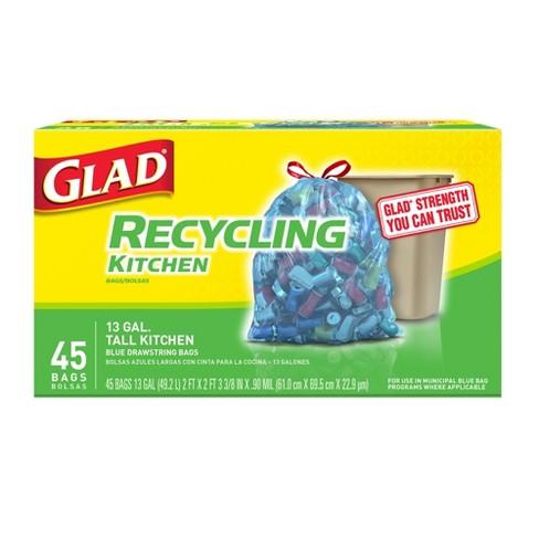 Glad Blue Recycling Tall Kitchen Drawstring Trash Bags 13 Gallon 45ct
