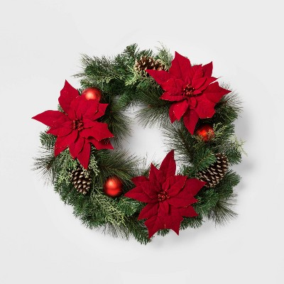 """28"""" Christmas Red Poinsettia with Ornaments Artificial Pine Wreath - Wondershop™"""