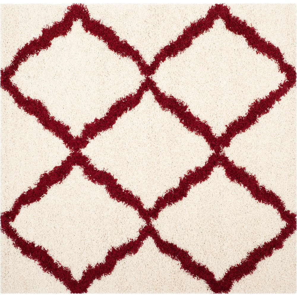 6 X6 Quatrefoil Design Loomed Square Area Rug Ivory Red Safavieh