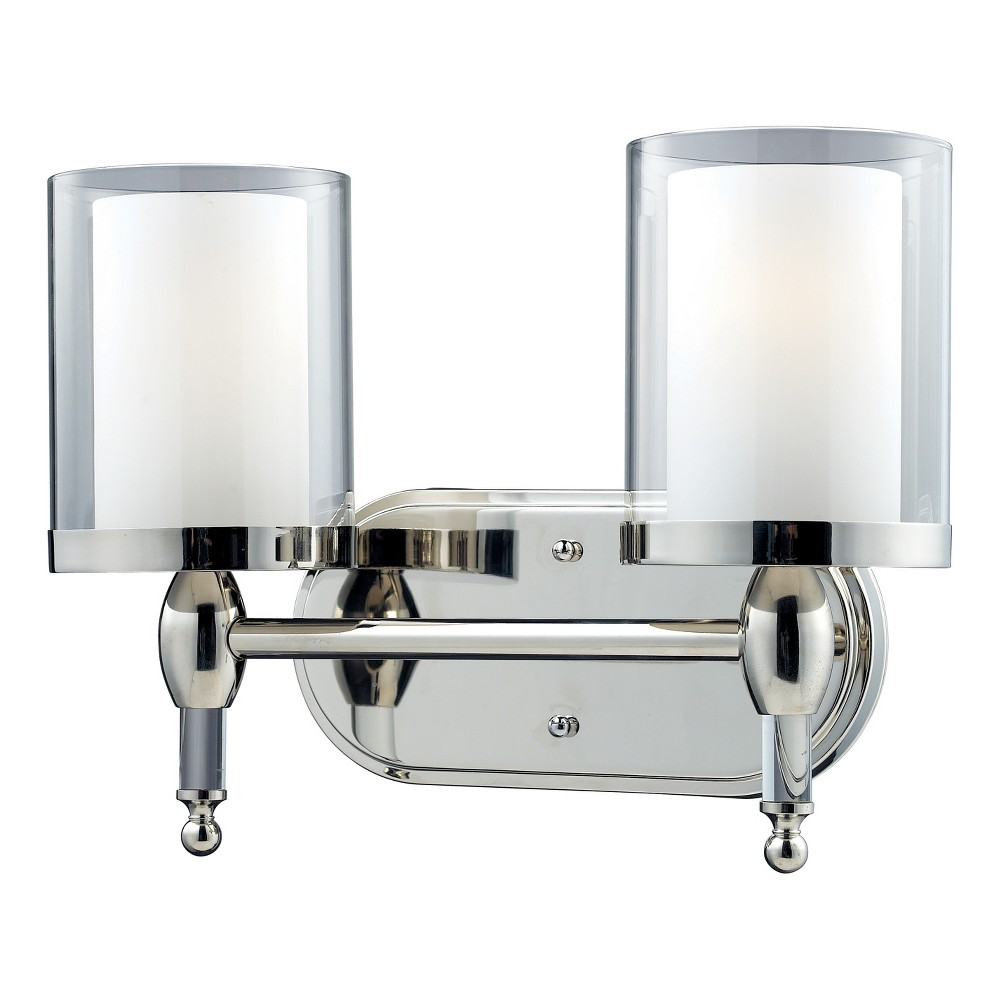 Vanity Wall Lights with Clear Outside; Matte Opal Inside Glass (Set of 2) - Z-Lite
