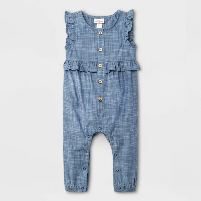 Baby Girls' Chambray Long Leg Romper - Cat & Jack™ Dark Blue 3-6M