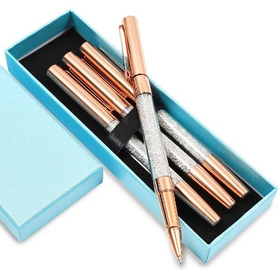 Paper Junkie 4-Pack Rose Gold Crystal Bling Ballpoint Pens Set with Blue Gift Box for Office, Home and Business