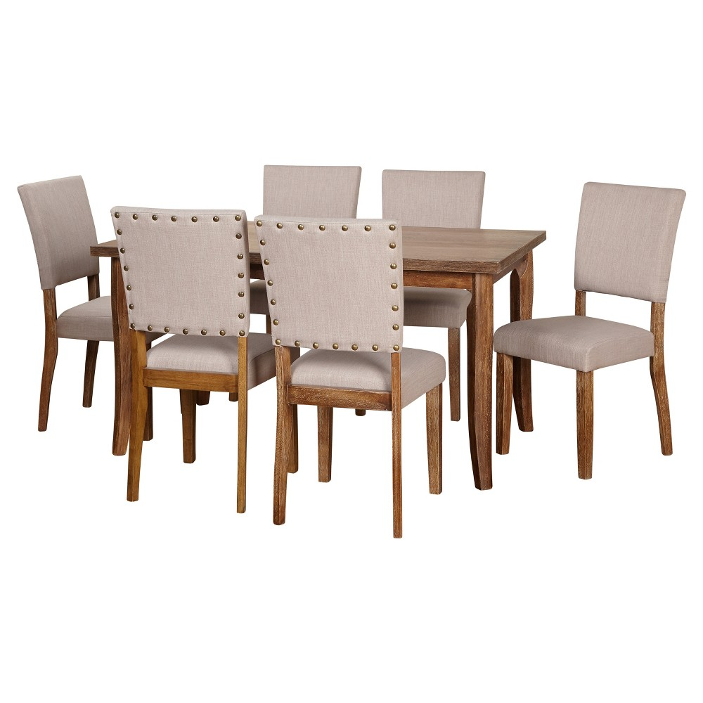7 Piece Provence Dining Set - Driftwood (Brown) - Target Marketing Systems