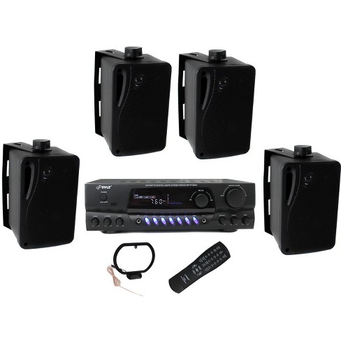 """4) Pyle PLMR24B 3.5"""" 200W Box Speakers + PT260A Home Digital Stereo Receiver - image 1 of 6"""