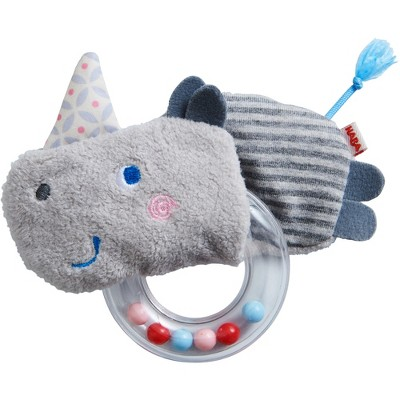 Rhino Fabric Clutching Toy with Removable Plastic Teething Ring
