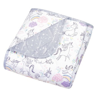 Trend Lab Reversible Baby Quilt - Playful Unicorns