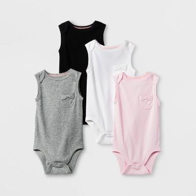 Baby Girls' 4pk Tank Bodysuits Cloud Island™ - Pink Lemonade NB