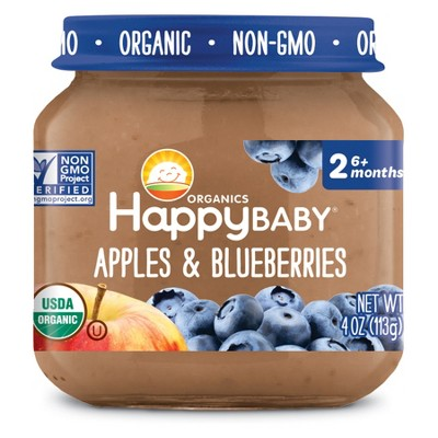 HappyBaby Fruit And Vegetable Snacks Apples & Blueberries Baby Food - 4oz