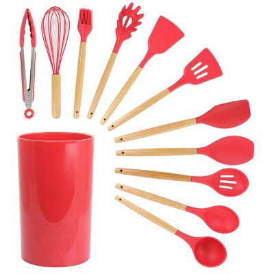 MegaChef 12 Piece Black Silicone and Wood Cooking Utensils