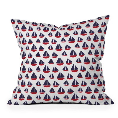 "16""x16"" Zoe Wodarz Little Boats Square Throw Pillow Red/Blue - Deny Designs"