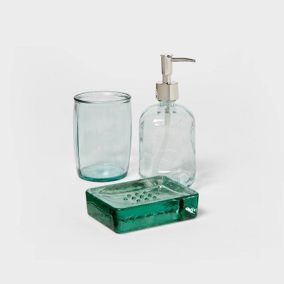 3pc Recycled Glass Bath Coordinate Bundle Clear - Threshold™