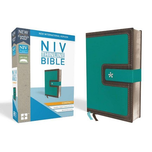 NIV, Thinline Bible, Compact, Imitation Leather, Blue/Brown, Red Letter Edition - by  Zondervan - image 1 of 1