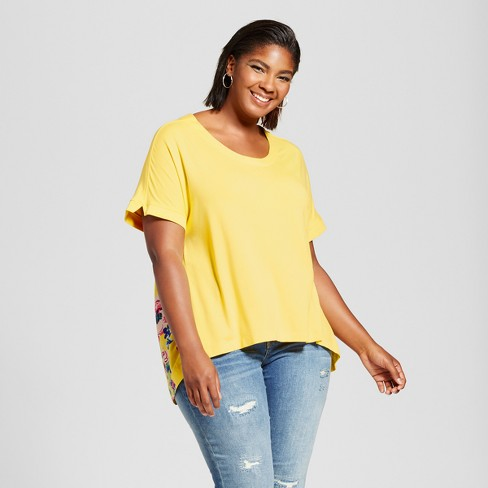 Women's Plus Size Mixed Media T-Shirt with Floral Print - Ava & Viv™ Yellow - image 1 of 2