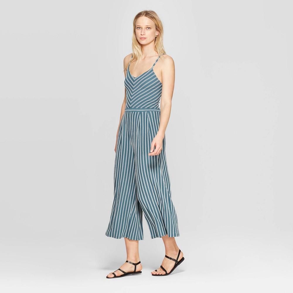 Women's Striped V-Neck Strappy Knit Cropped Jumpsuit - Xhilaration Teal (Blue) Xxl