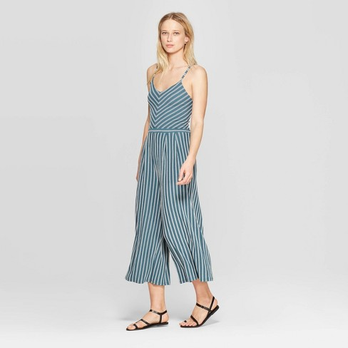 d2fba91a788 Women s Striped V-Neck Strappy Knit Cropped Jumpsuit - Xhilaration ...