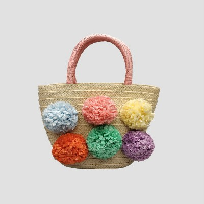 Toddler Girls' Tote Handbag with Poms - Cat & Jack™ Natural