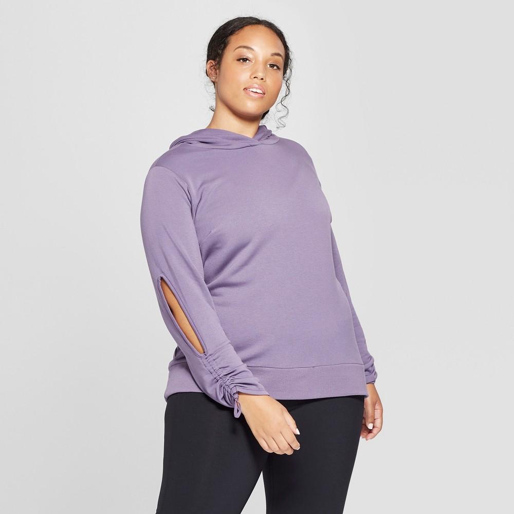 Women's Plus Size Cut - Out Hooded Sweatshirt - JoyLab Violet Smoke 3X