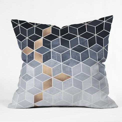 16 X16 Elisabeth Fredriksson Soft Blue Gradient Cubes Square Throw Pillow Deny Designs Target