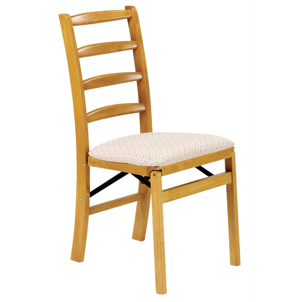 Image of Set of 2 Shaker Ladderback Folding Chair Oak Brown - Stakmore