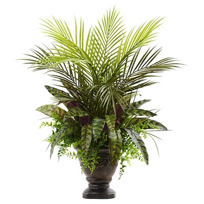 "Mixed Areca Palm Fern and Peacock with Planter - Green (27"")"