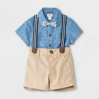 Baby Boys' Star Chambray Top & Bottom Set - Cat & Jack™ Blue 3-6M