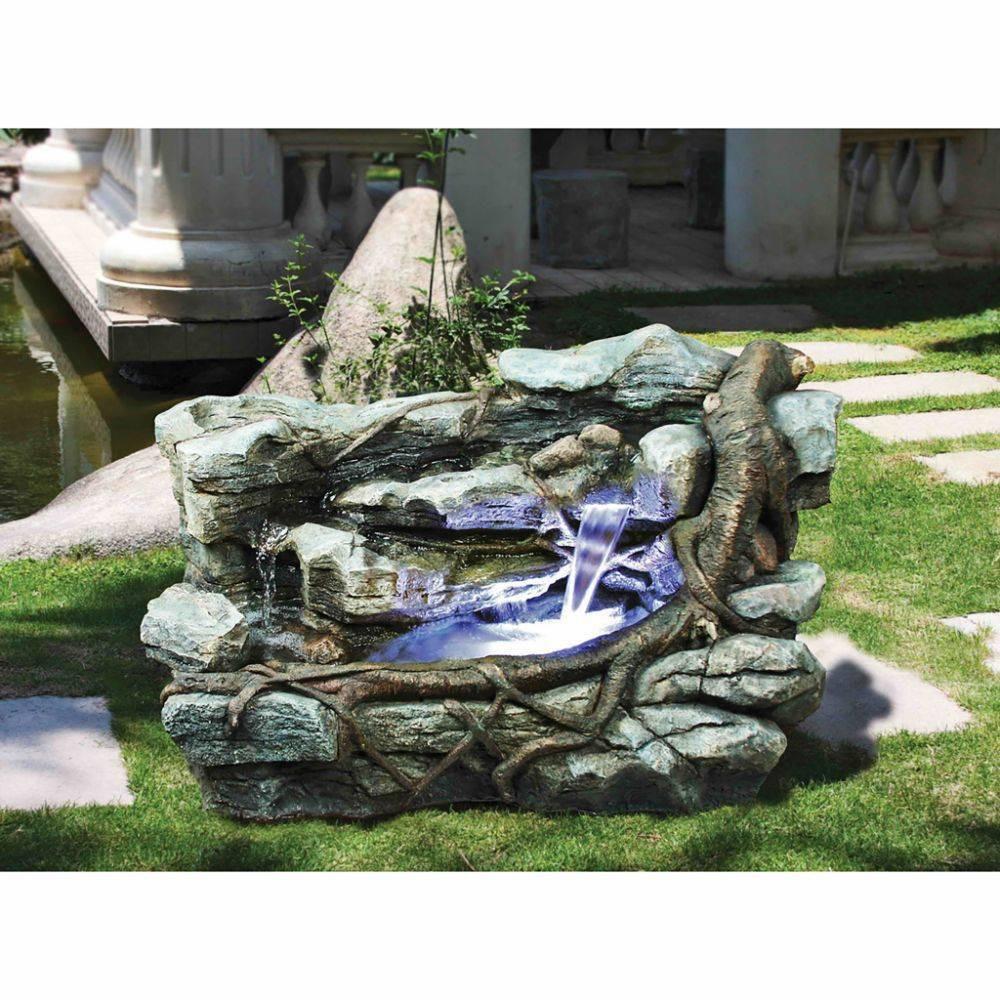 Image of Staggered Rock Canyon Cascading Garden Fountain - Acorn Hollow