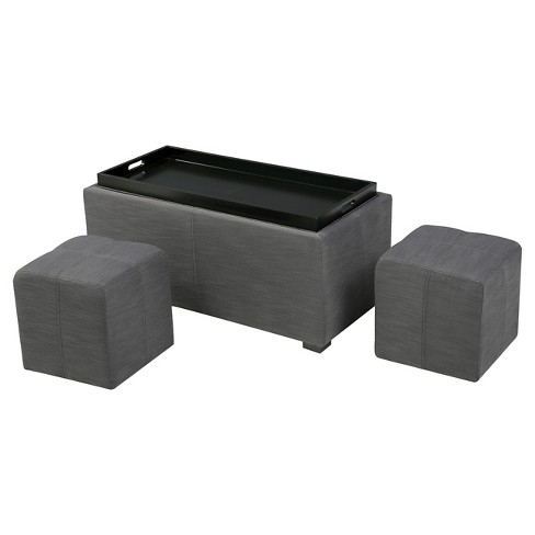 Tremendous Drake 3 Piece Fabric Tray Top Nested Storage Ottoman Bench Christopher Knight Home Uwap Interior Chair Design Uwaporg