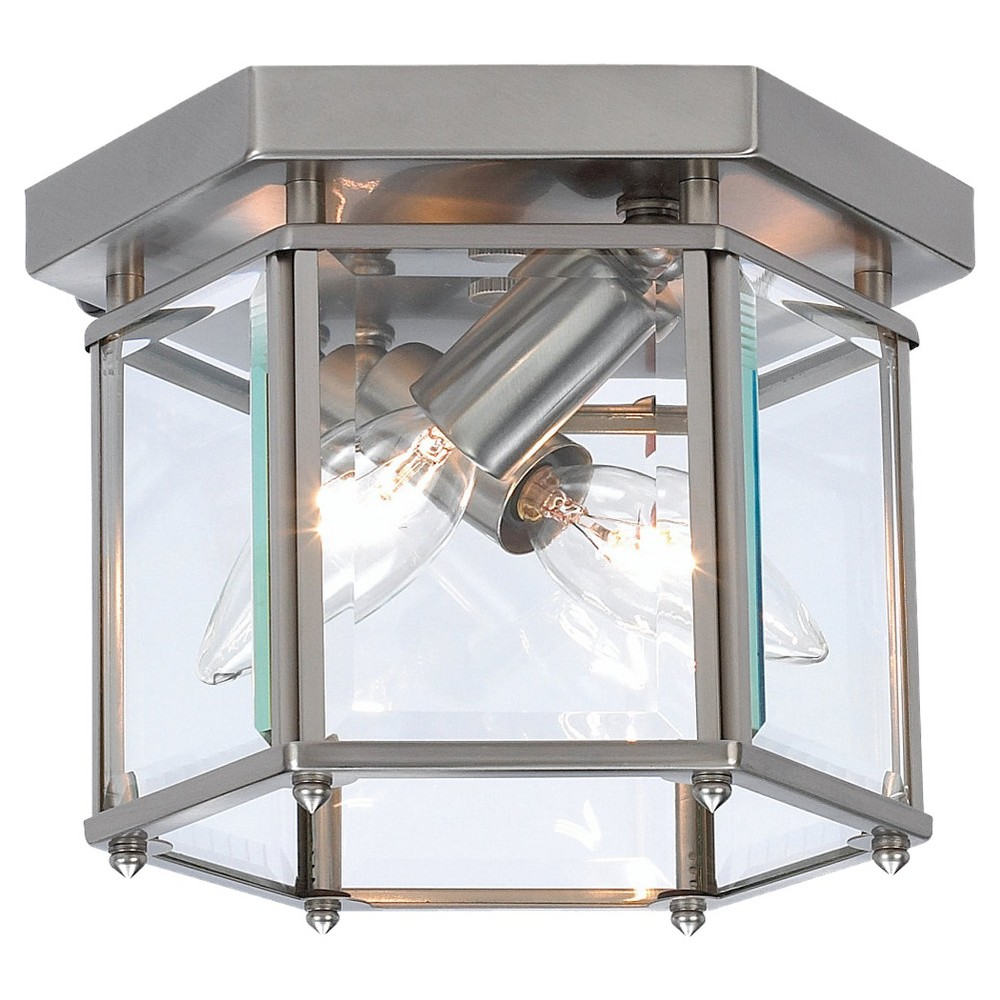 Sea Gull Lighting Two Light Ceiling Fixture - Brushed Nickel, Mtl