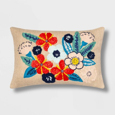 Lumbar Embroidered Raffia Floral Pillow - Opalhouse™