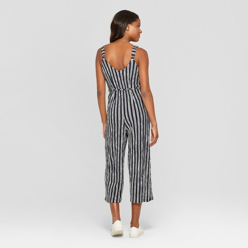 84c0aebac0ac Women s Striped Strappy Button Front Knit Cropped Jumpsuit - Xhilaration™  Navy White L   Target