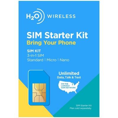 H2O Wireless 3-in-1 SIM Card Starter Kit (for GSM Unlocked Phones)