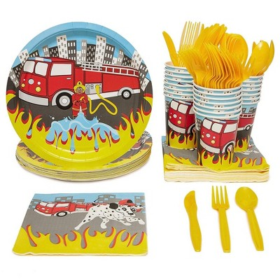 Fire Truck Party Supplies Paper Plates Cutlery (Set of 24)