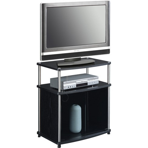 Tv Stand With Glass Doors Black 24 Convenience Concepts Target