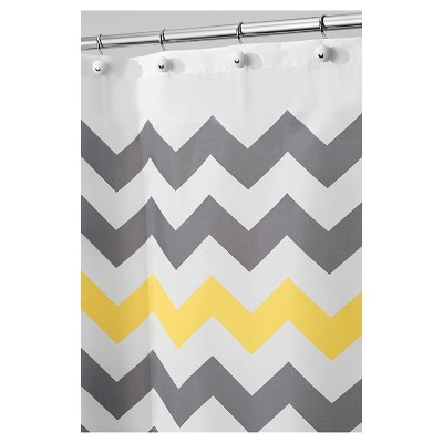Shower Curtain Polyester Chevron Tall Gray/Yellow - InterDesign
