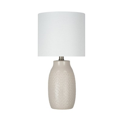 """18"""" Beige Textured Ceramic Reactive Glaze Table Lamp (Includes LED Light Bulb) Brown - Cresswell Lighting"""