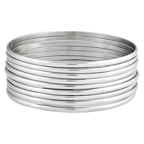 Women S 9 Piece Stackable Bangle Stainless Steel Bracelets 3mm Silver 8