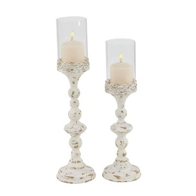 Set of 2 Rustic Metal Candle Holder White - Olivia & May