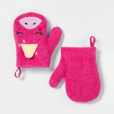 2pc Unicorn Bath Mitts Pink - Pillowfort™