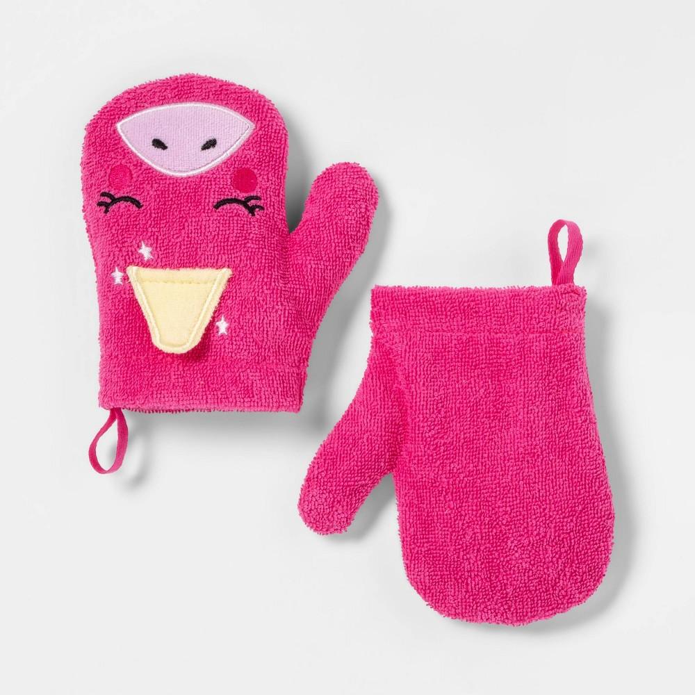 Image of 2pc Unicorn Bath Mitts Pink - Pillowfort