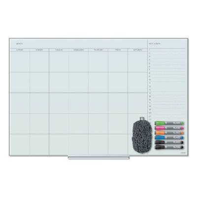 U Brands Floating Glass Dry Erase Undated One Month Calendar, 36 x 24, White 3967U0001