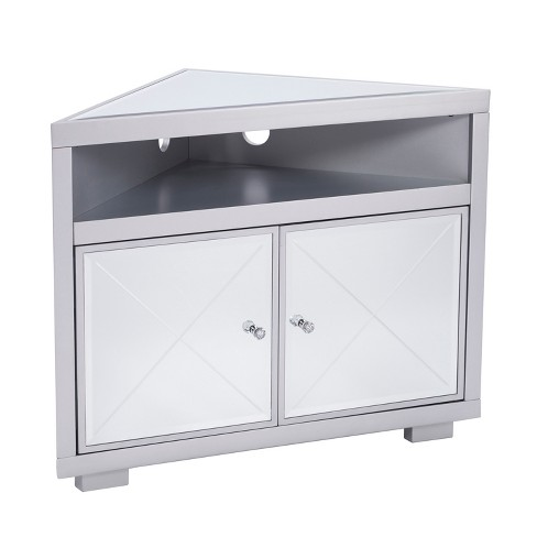 Monroe Mirrored Corner 34 Tv Stand Matte Silver Aiden Lane Target