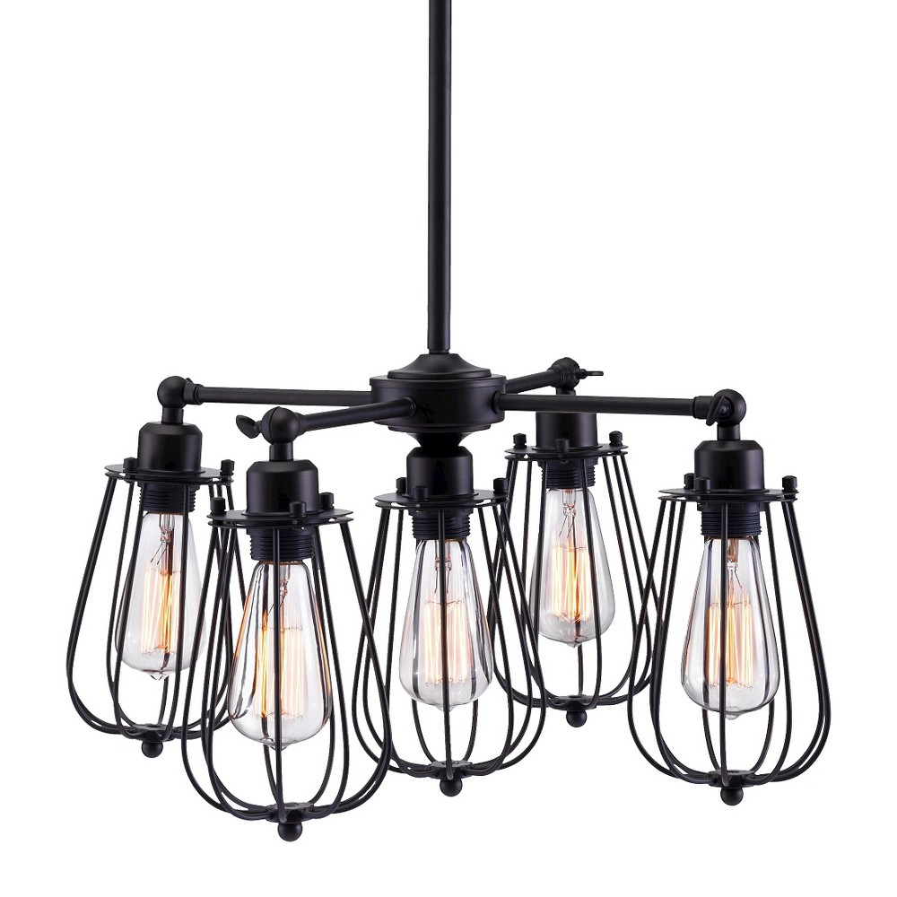 Distressed Black 5-Bulb Rustic 22 Ceiling Lamp - ZM Home