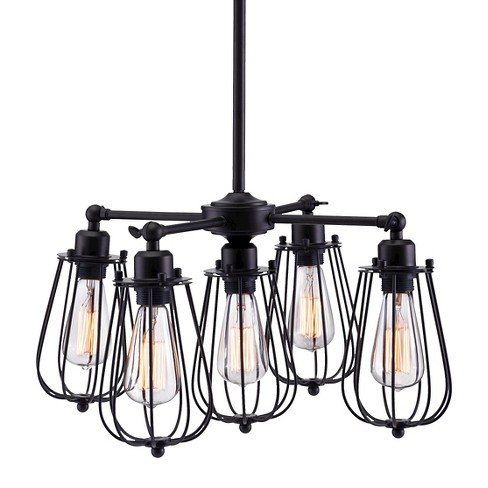 "Distressed Black 5-Bulb Rustic 22"" Ceiling Lamp - ZM Home - image 1 of 3"