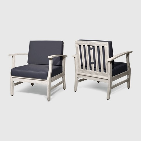 Perla 2pk Acacia Wood Club Chairs Light Gray/Dark Gray - Christopher Knight Home - image 1 of 4