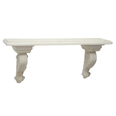 """31.5"""" x 13.5"""" Large Floating Wall Shelf with Decorative Scrollwork Beige/White - Olivia & May"""
