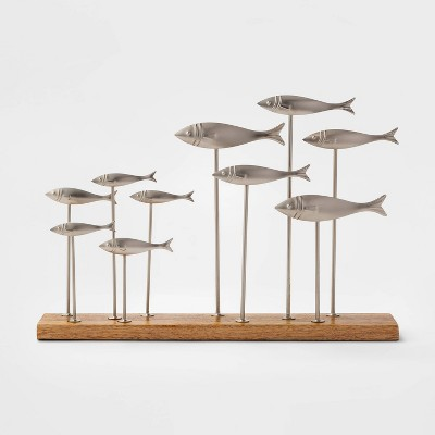 13.6  x 9.2  Decorative Metal Fish on Wood Stand Silver/Brown - Threshold™